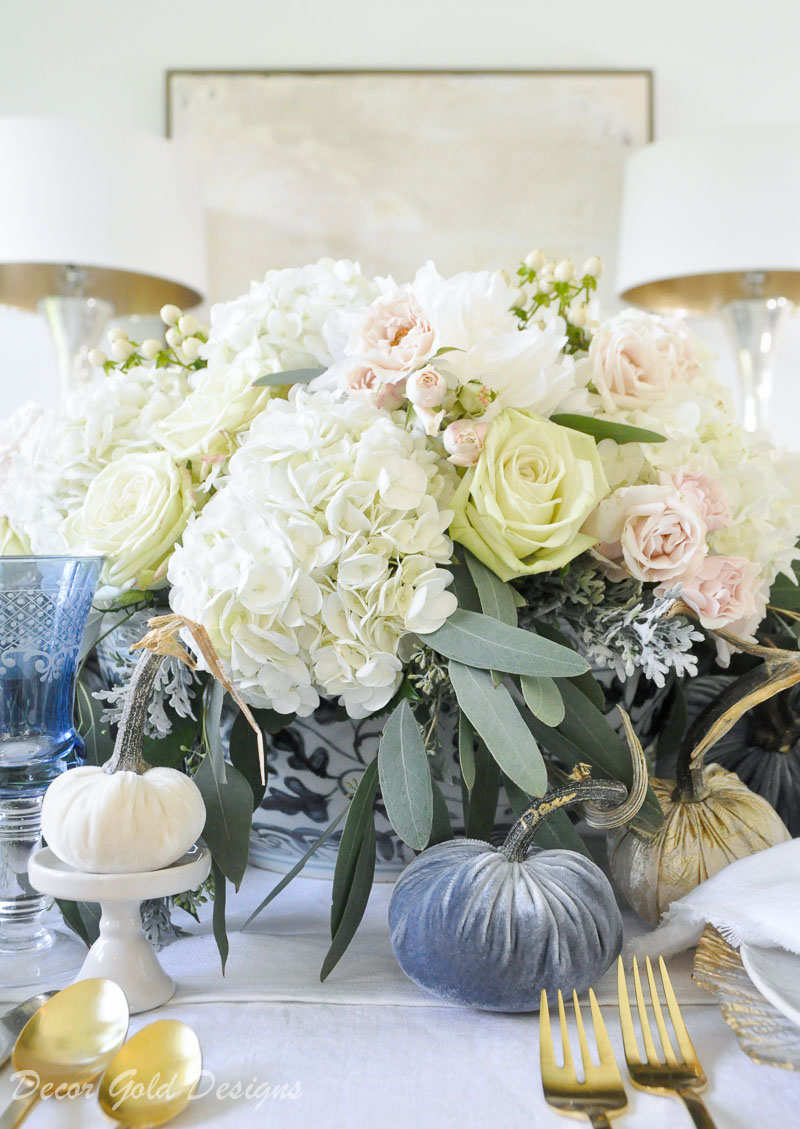 fall home tour blue white floral centerpiece