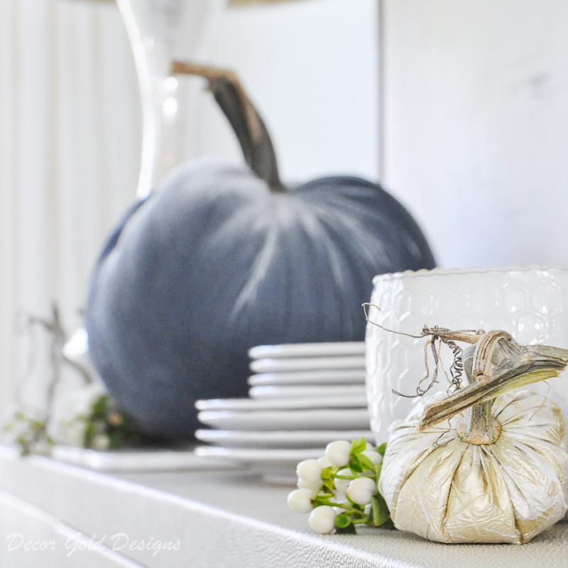 fall home tour dining room candle fabric pumpkins