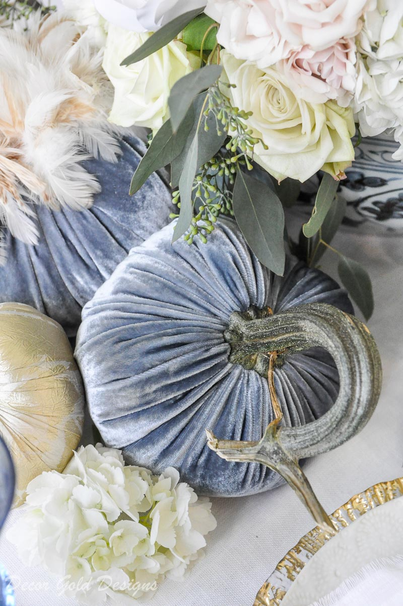 fall home tour blue white floral pumpkin centerpiece