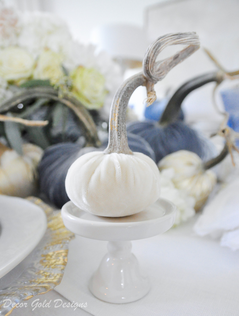 fall home tour blue white centerpiece tiny pumpkin cupcake stand