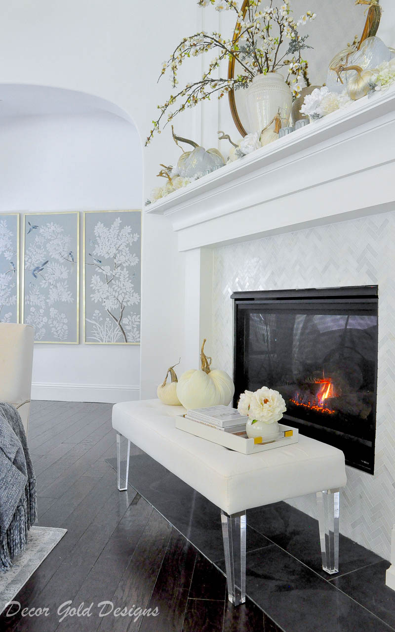 Beautiful fall home tour mantel hearth decor