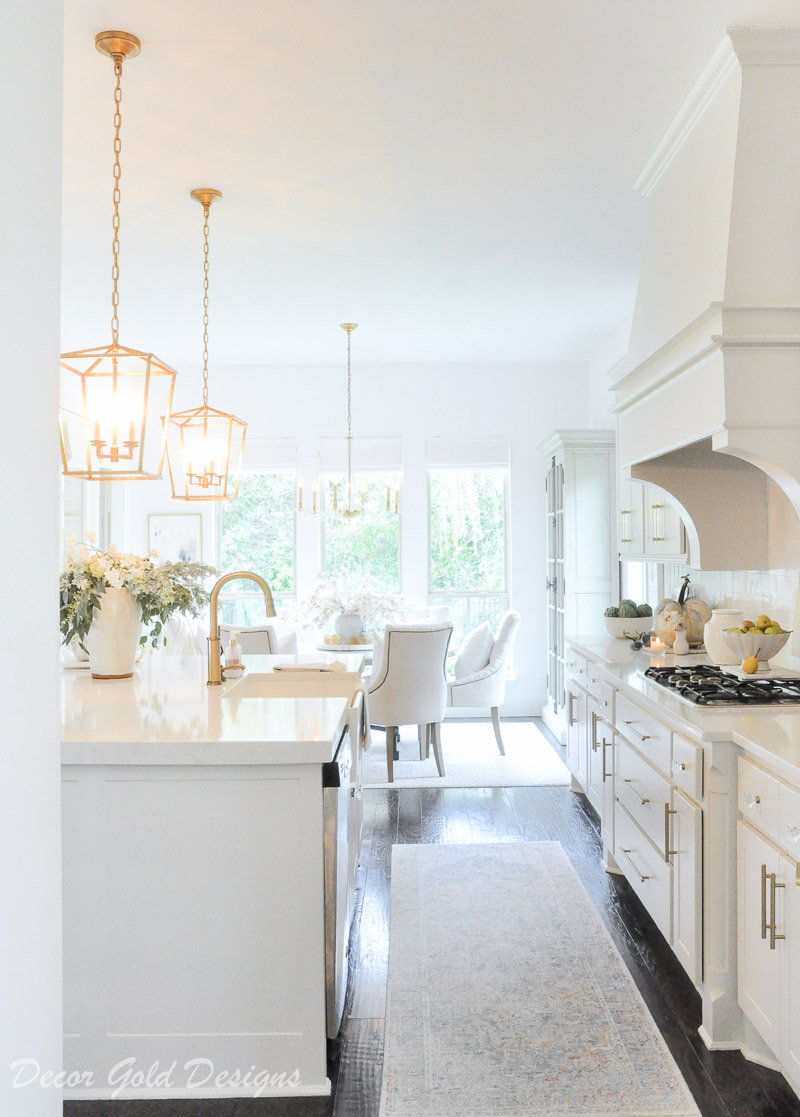 fall home tour white kitchen gold accents beautifully styled decor