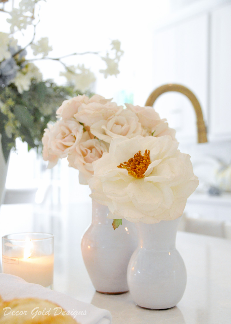 fall home tour white kitchen gold accents beautifully styled vases