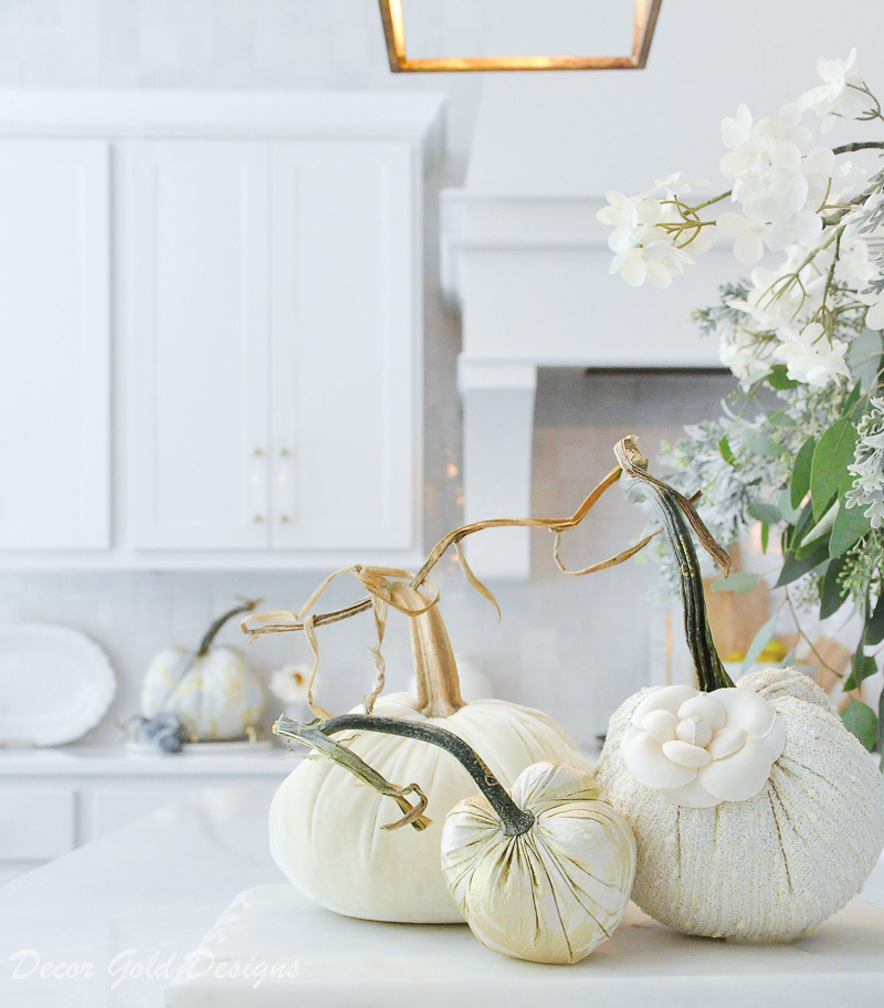 fall home tour white kitchen gold accents beautifully styled pumpkin decor