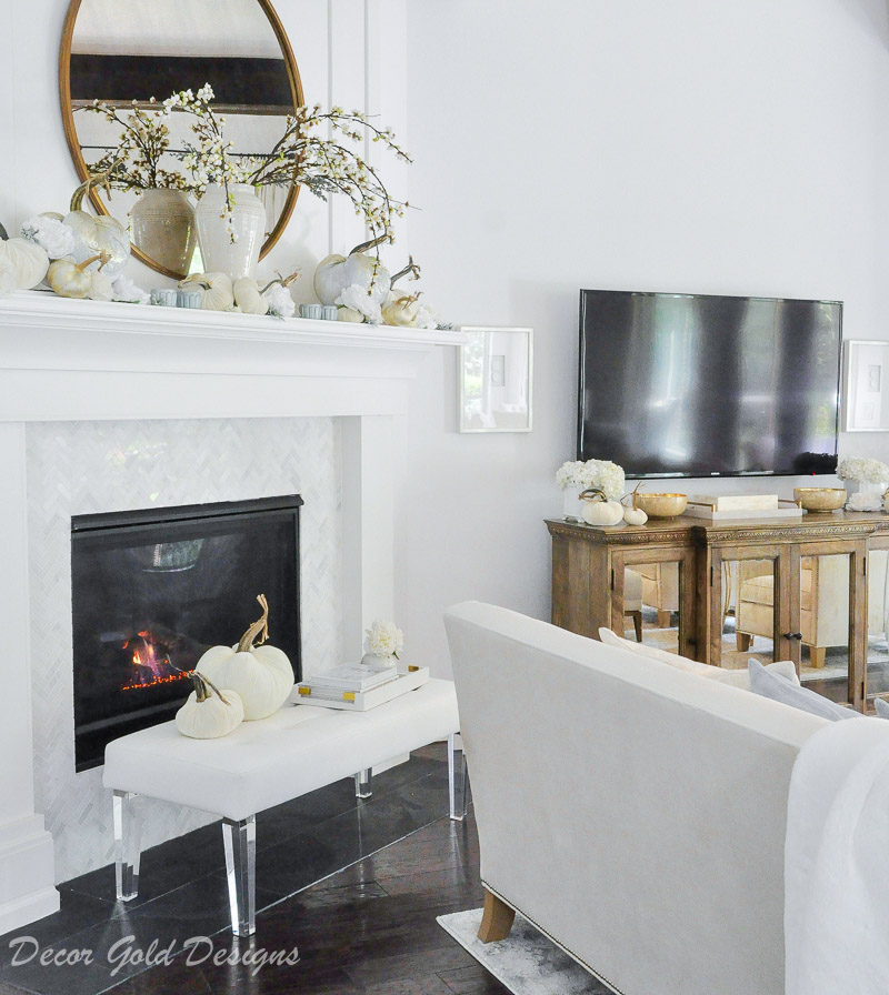 fall home tour mantel hearth decor