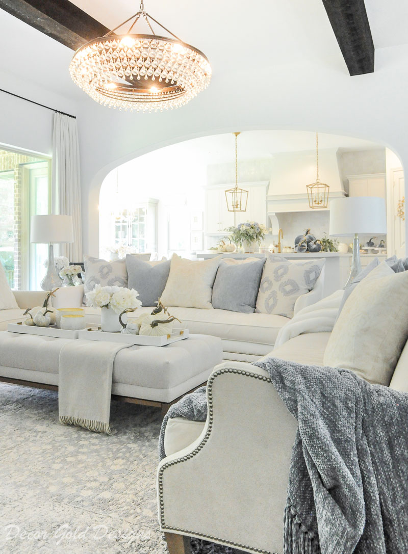 fall home tour white blue living room
