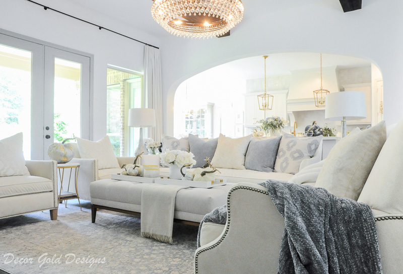 Classy fall home tour white blue living room
