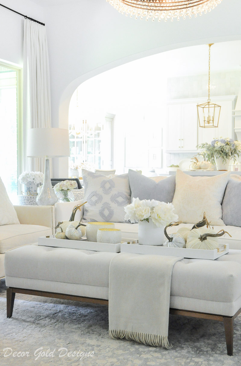 fall home tour bright white soft blue living room