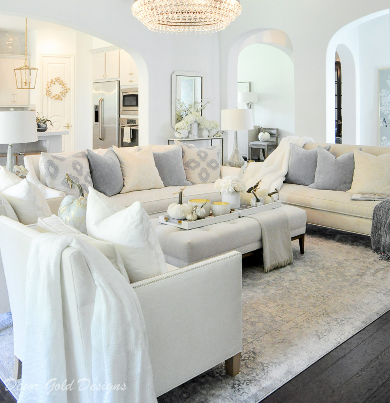 Elegant fall home tour white blue living room