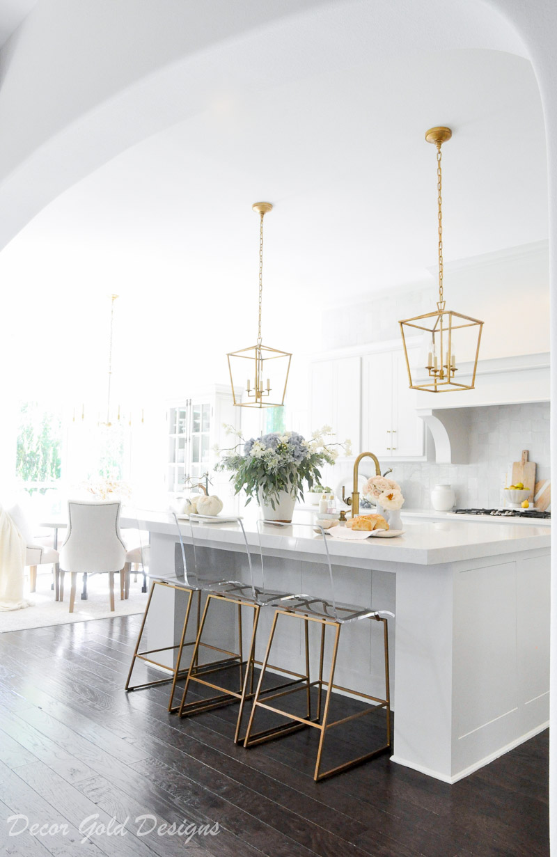 fall home tour white kitchen gold accents beautifully styled