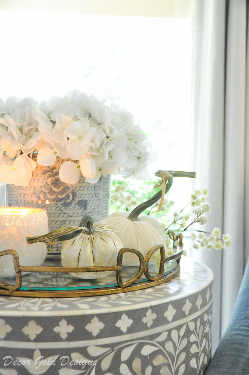 Beautiful fall home tour white pumpkins displayed