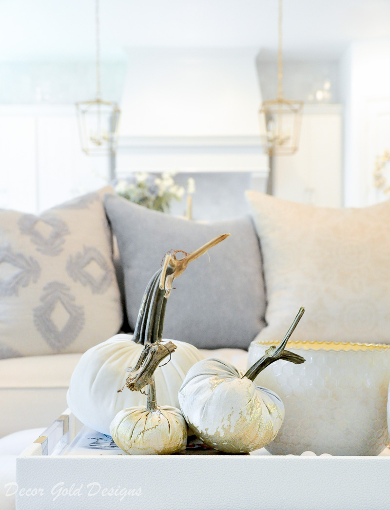 Beautiful fall home tour white velvet pumpkins Hotskwash