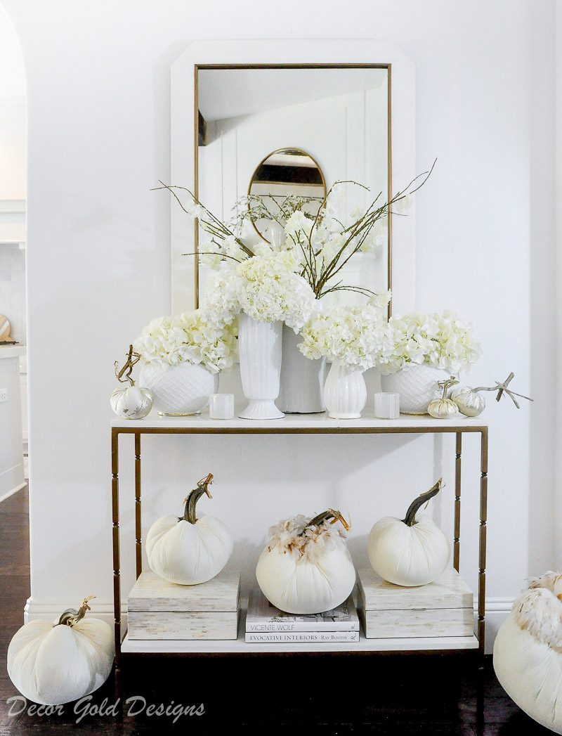 fall home tour white pumpkins beautiful console table decor