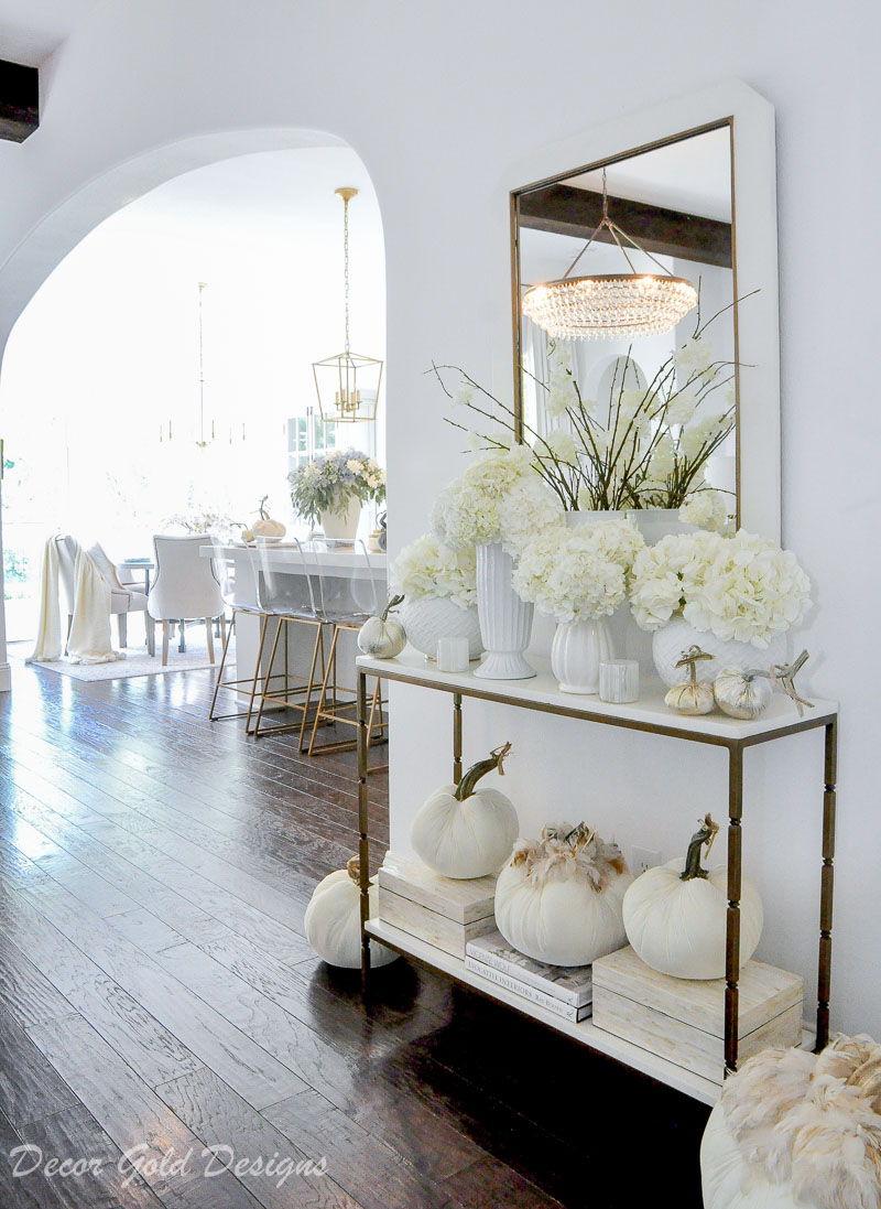 fall home tour white pumpkins console decor