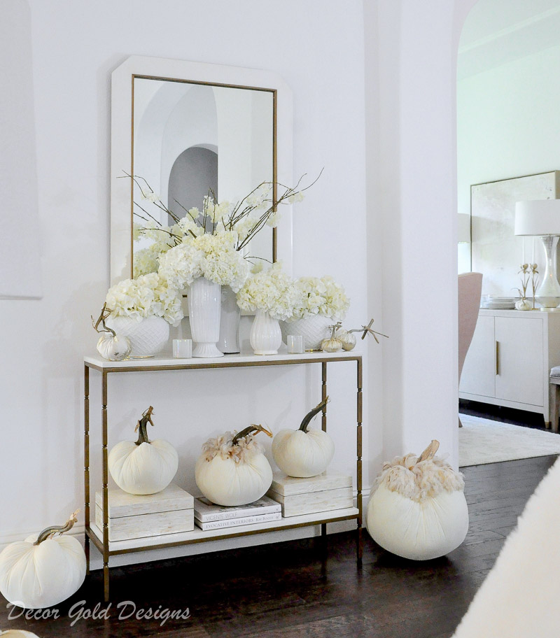 Elegant fall home tour white pumpkins console table decor