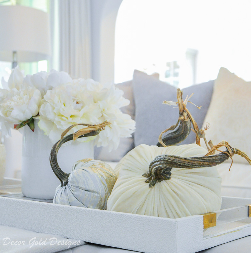 Beautiful fall home tour white velvet pumpkin decor Hotskwash