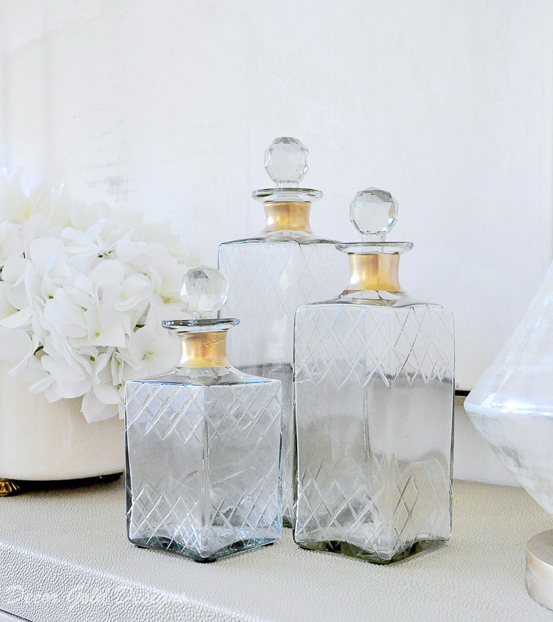 Gold accents glass decanters