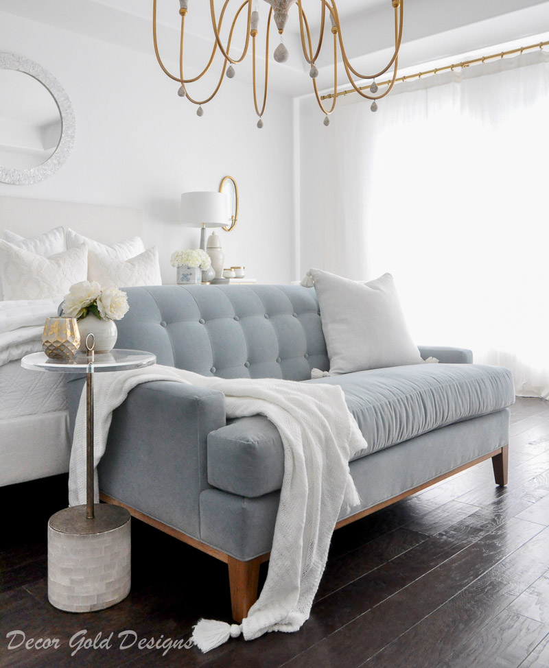 Beautiful master bedroom refresh soft blue sofa