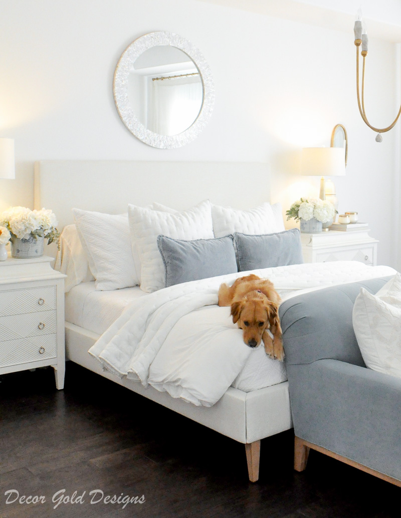 Master bedroom refresh white bed blue accents