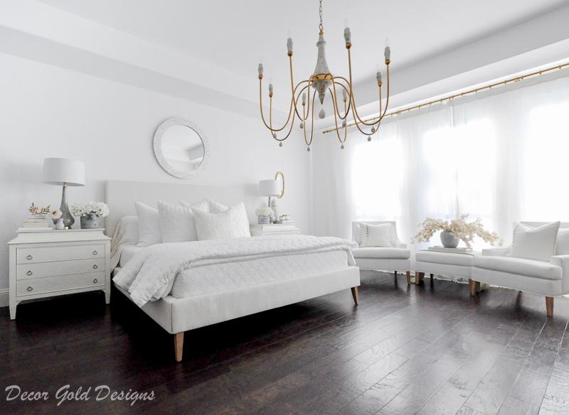 Master bedroom refresh white bed gold chandelier
