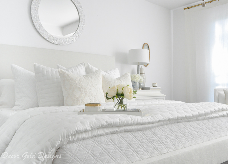 Master bedroom refresh white bed bedding