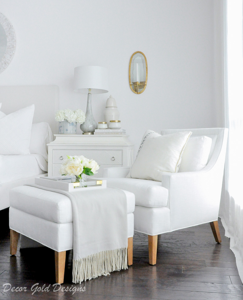 Master bedroom refresh white chair ottoman