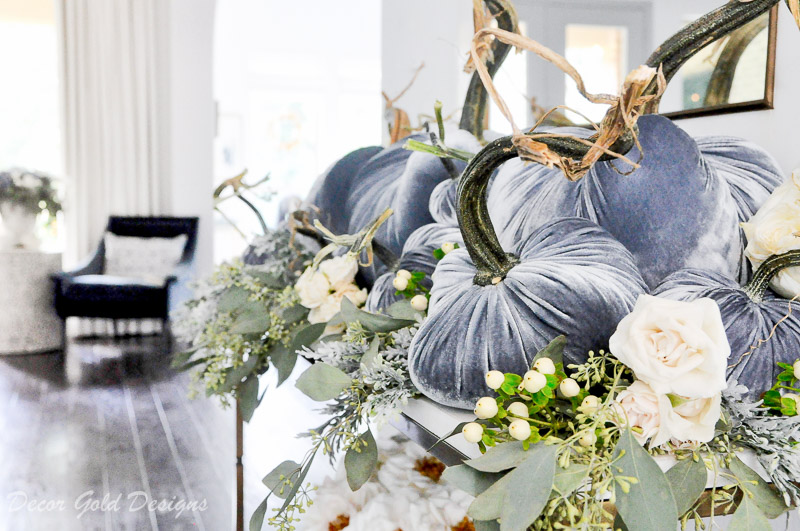 Beautiful pumpkin styling blue velvet pumpkins
