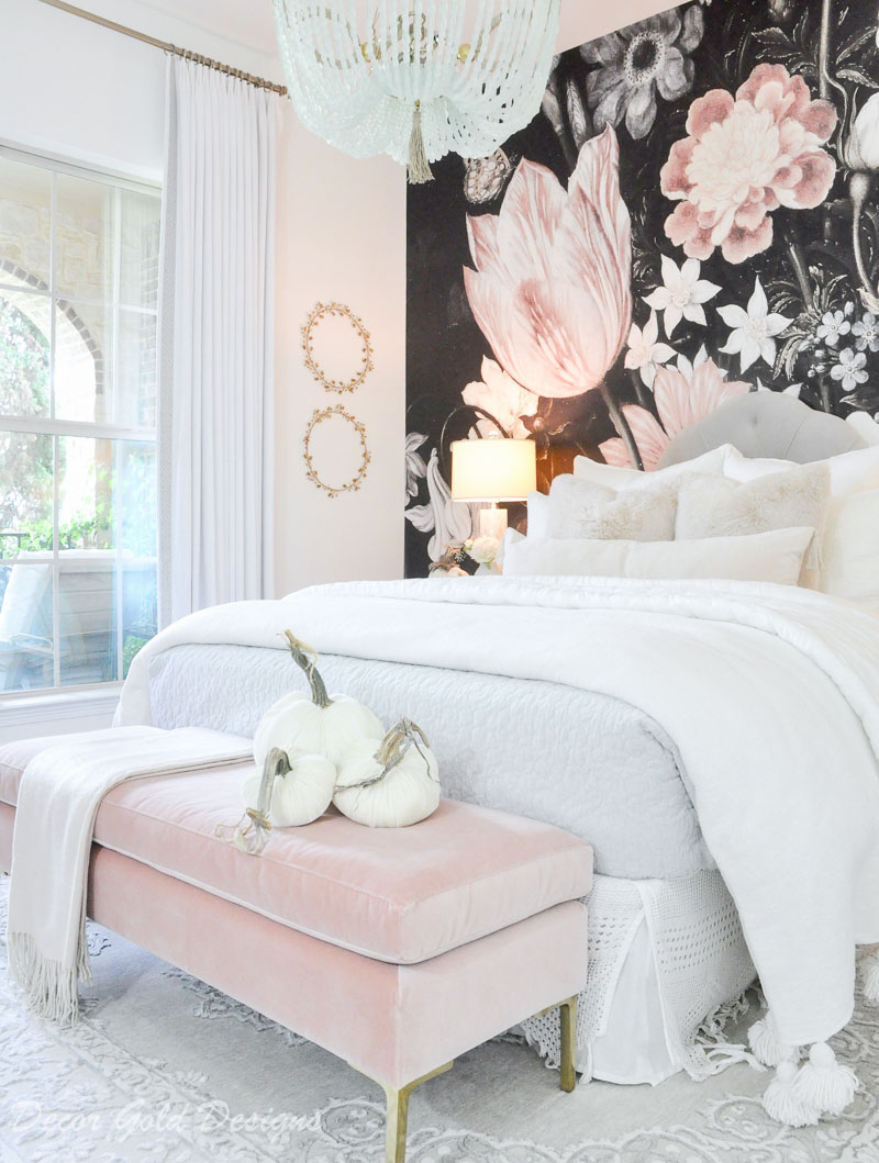 Subtle fall bedroom beautiful floral mural pink bench