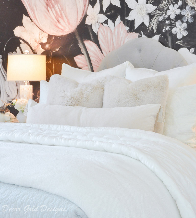 Subtle fall bedroom white cozy layered bedding