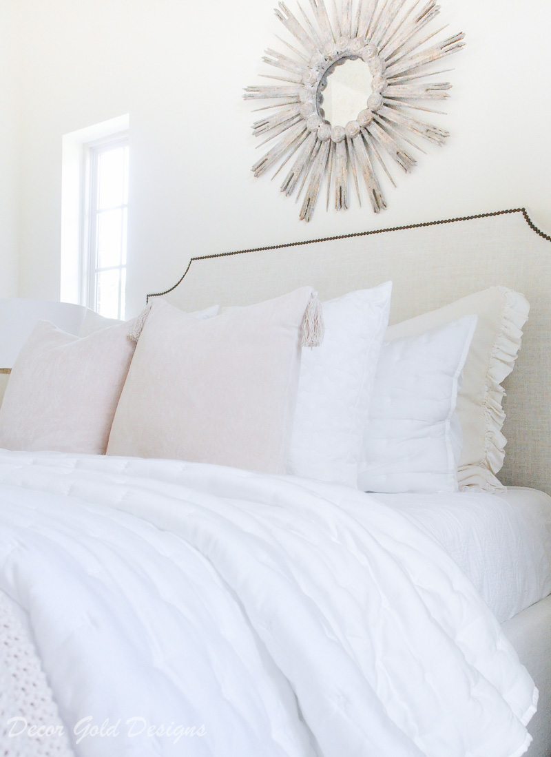 Subtle fall bedroom white blush pink bed