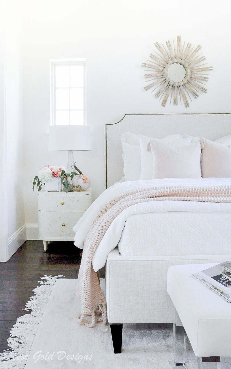 Beautiful subtle fall bedroom white nightstand