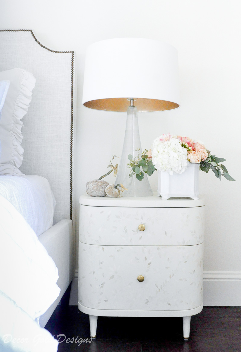 Subtle fall bedroom white nightstand floral