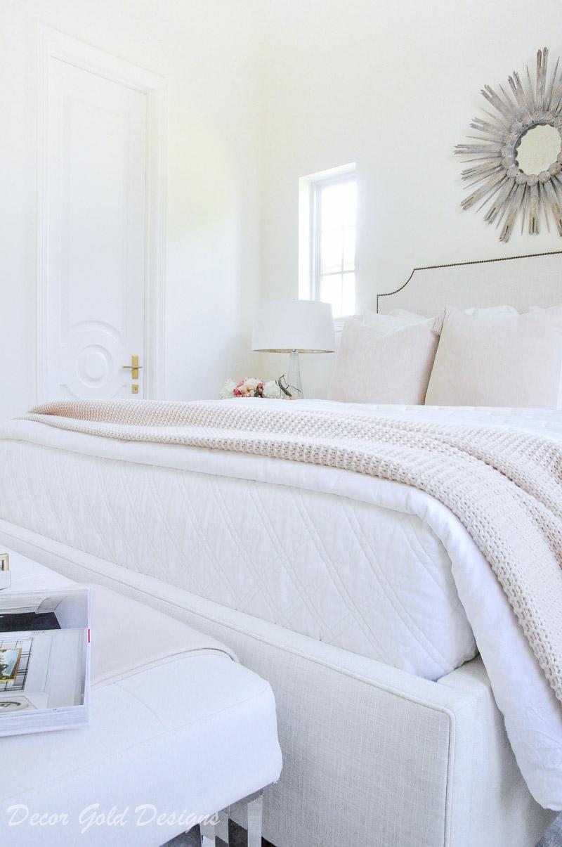 Subtle fall bedroom white bedding blush throw blanket