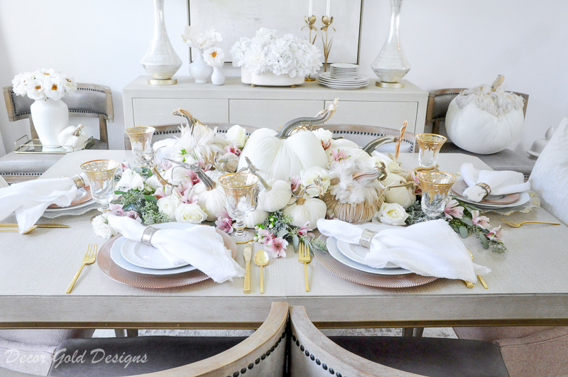 tabletop pumpkin styling neutral dining room velvet pumpkins