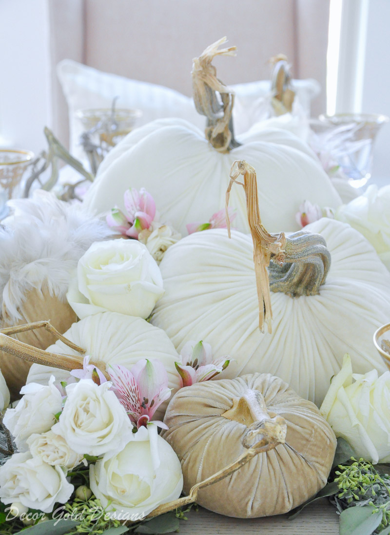 tabletop pumpkin styling neutral velvet pumpkins