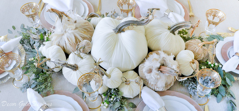 tabletop pumpkin styling steps add greenery