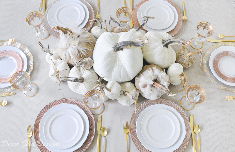 Beautiful tabletop pumpkin styling neutral velvet pumpkins
