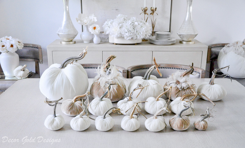 Fall tabletop pumpkin styling neutral velvet pumpkins variety sizes
