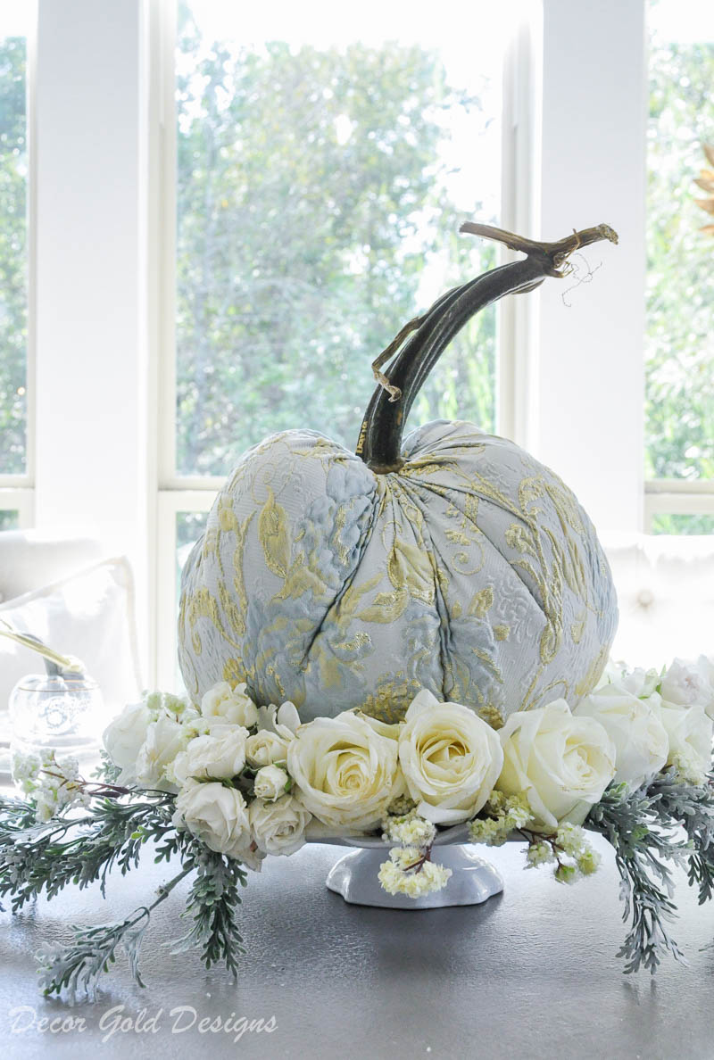 Elegant tabletop pumpkin centerpiece styling light blue