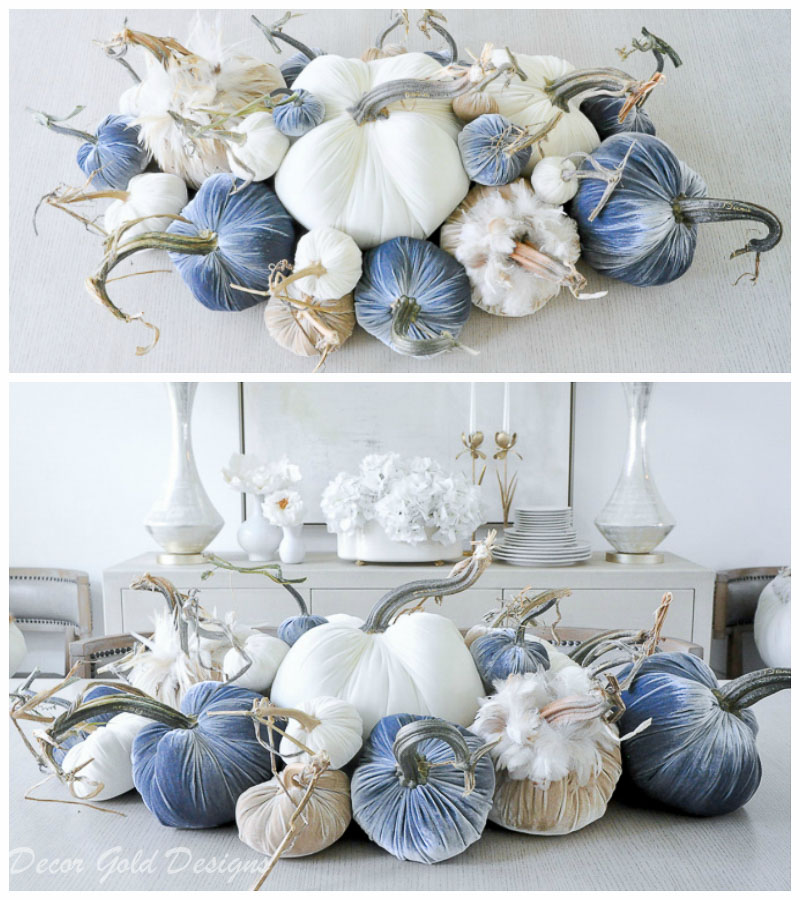 tabletop pumpkin styling neutrals blues