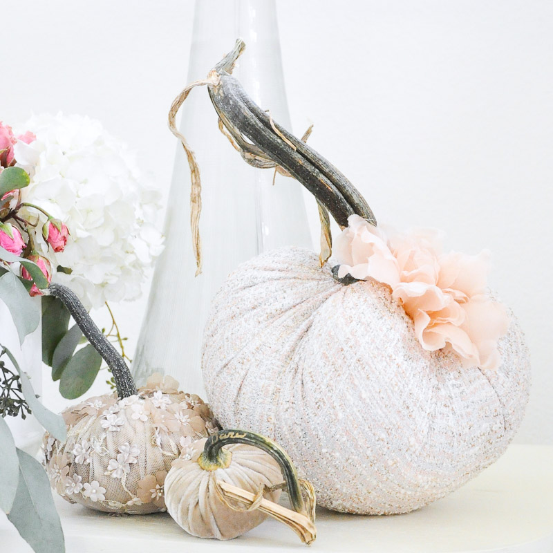 Velvet boucle pumpkin decor flowers