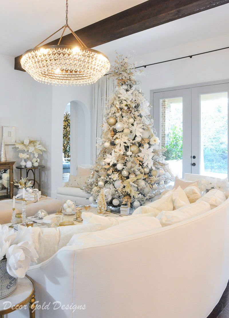 Christmas living room beautiful white flocked tree