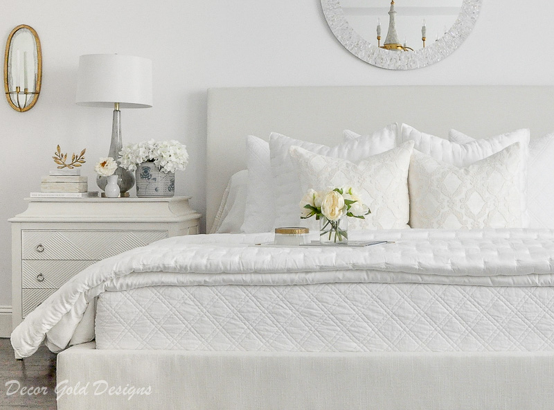 master bedroom white gold accents