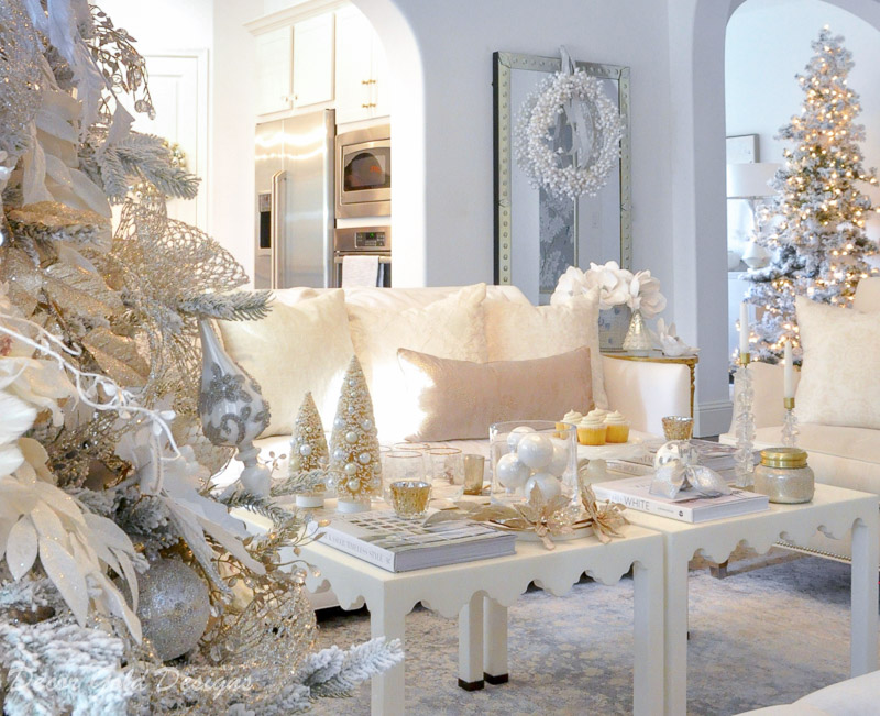 White christmas living room soft blush accents