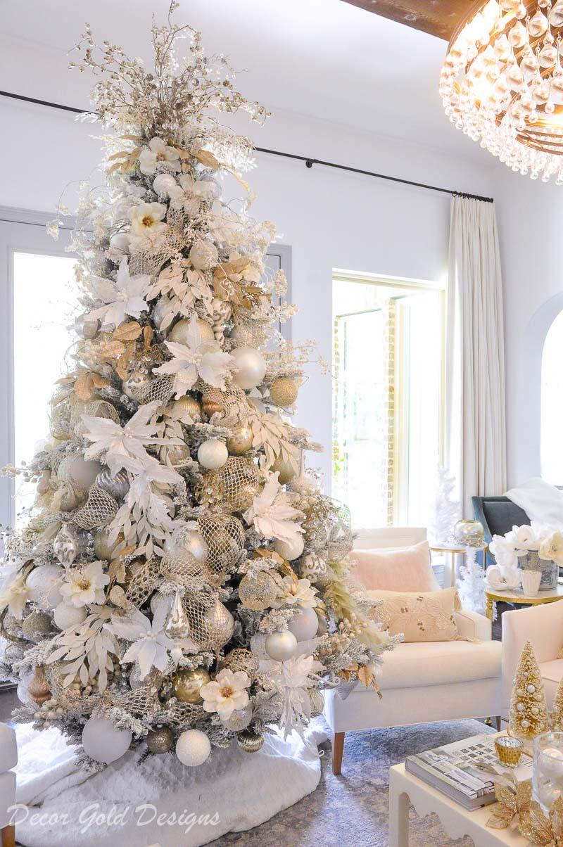 Bright White Christmas Living Room Decor Gold Designs