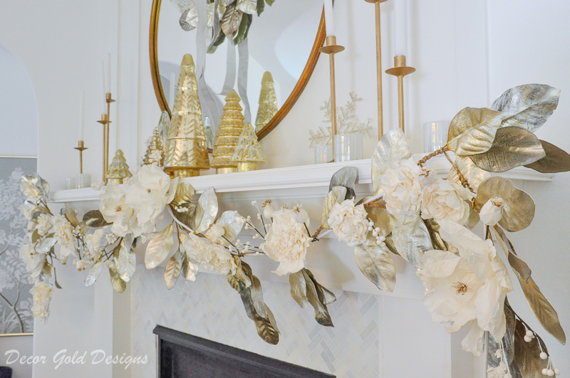 Decorated Christmas living room beautiful white gold mantel