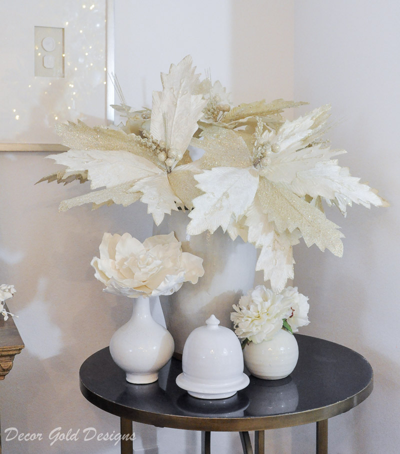 white christmas living room large faux poinsettias
