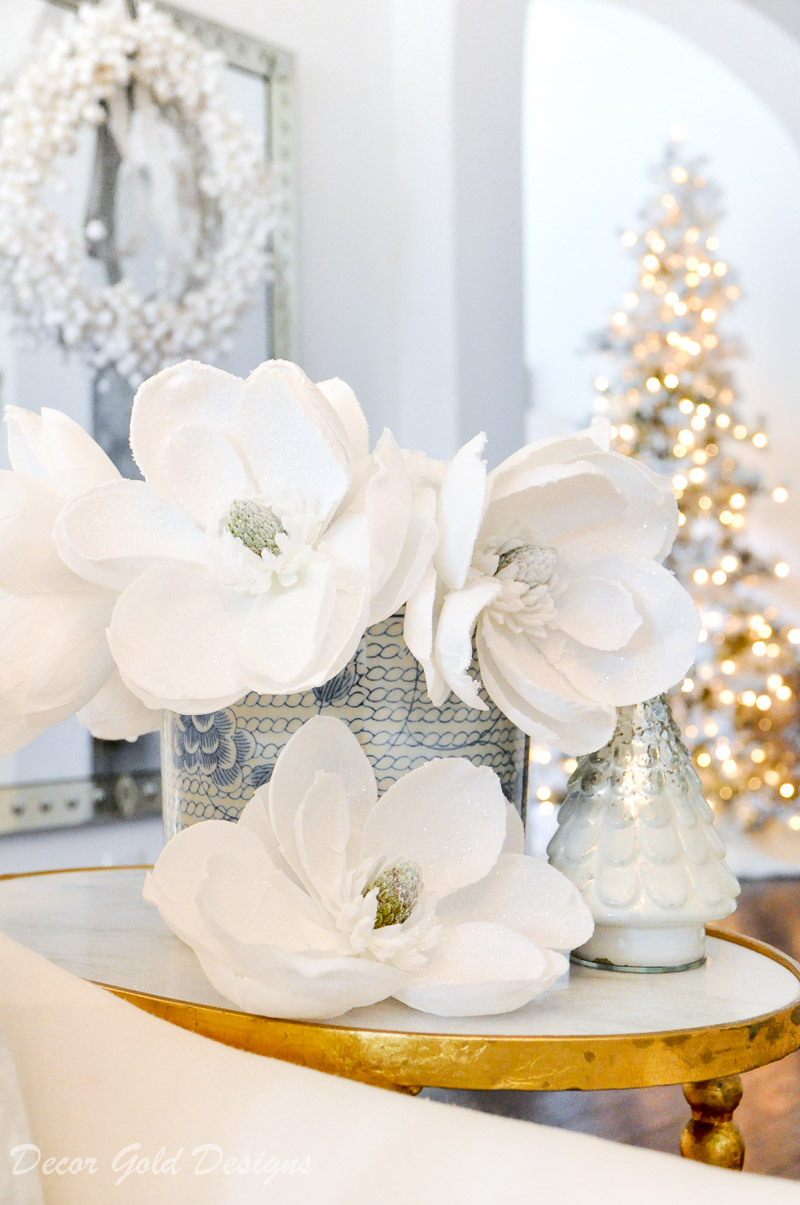 white christmas living room side table decor