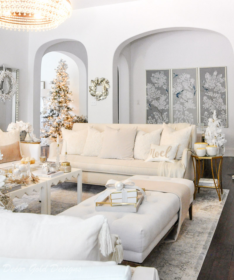 Decorated white Christmas living room