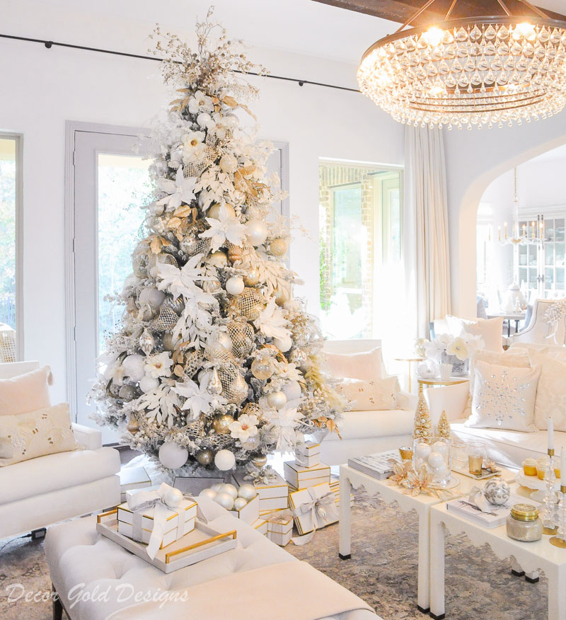 Decorated Christmas living room beautiful white flocked tree